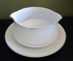 **SOLD** Salem Gravy Bowl with Attached Under Plate, Lace Bouquet Platinum, Gravy Boat, Gravy Dish, Salem China by SoulsationsVintage on Etsy