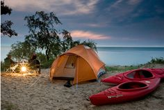 Camping kayaking along Michigan's Great Lakes maybe not eccentric but def nice!