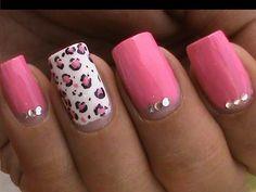 Pink Leopard nail art tutorial In rhinestones designs for beginners cute nail polish ideas
