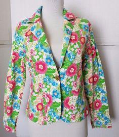 New Identity  Floral sequins Slim fit Blazer Womens sz M Green Pink #NewIdentity #Blazer