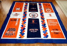 Our T-Shirt quilts photo gallery offers lots of inspiration to help you design a quilt of your very own. Includes a link to T-shirt quilt instructions.: ILLINI T-shirt Quilt