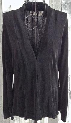 Chicos Travelers Black Stretch Peplum Jacket Cardigan Top Blouse Size 1/Medium 8 #Chicos #JacketCardiganTop