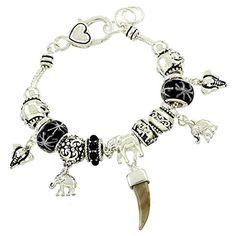 Elephant Charm Bracelet C33 Black Gray Murano Beads Silver Tone