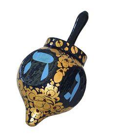 "Hanukkah Wood Dreidel Hand Painted In Blue & Gold Flowers Design, Hebrew Lettering 2.75"" Tall"
