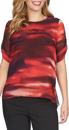 Get a unique look with this double layer top from Chaus that features an abstract print and tiered hem.