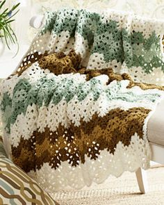 Crochet. Ripple in white, greens, and browns. Free pattern from Bernat.