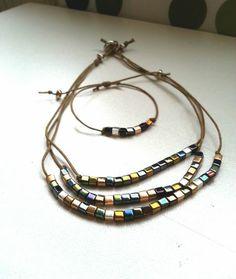 Metal World Kolye ve Bileklik / handmade glass beaded bracelet & necklace