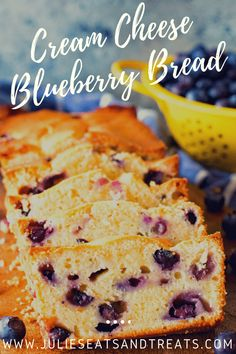 WMF Cutlery And Cookware - One Of The Most Trustworthy Cookware Producers Quick, Easy Blueberry Bread Recipe With Cream Cheese Is The Perfect Quick Bread Recipe Fresh Blueberries And Cream Cheese Keep This Bread Moist And Delicious. Blueberry Recipes Easy, Blueberry Desserts, Quick Bread Recipes, Muffin Recipes, Snack Recipes, Dessert Recipes, Recipes With Blueberries, Dessert Bread, Pie Recipes