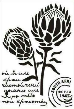 Pin by Diane Hampson on scan n Stencil Patterns, Stencil Designs, Outline Designs, Protea Art, Protea Flower, Stencil Printing, Stencil Art, Line Art Flowers, Flower Art