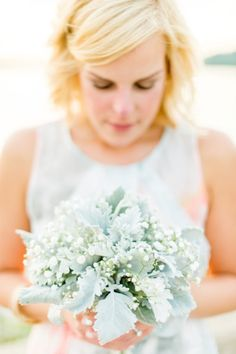 Silver dusty miller and baby's breath: http://www.stylemepretty.com/2015/04/14/20-pastel-bouquets-for-the-bride/