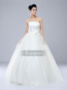 ランディブライダル ウエディングドレス Aライン ビスチェ チュール ビーズ アイボリー H1lbld1112