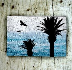 Cosmetics Bag Pouch Purse Accessory Design 25 Palm Tree Bird Blue Mosaic L.Dumas