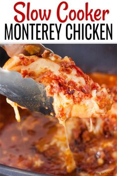 Crock pot Monterey Chicken - Eating on a Dime - Chicken Recipes Easy Chicken Recipes, Meat Recipes, Easy Dinner Recipes, Slow Cooker Recipes, Crockpot Recipes, Easy Meals, Cooking Recipes, Recipe Chicken, Simple Recipes