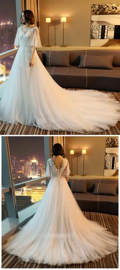 A Line Short Sleeves V Neck Tulle Wedding Dresses Cheap Bride Gown - 2019 Wedding Dresses - Inexpensive Bridesmaid Dresses, Cheap Wedding Dresses Online, Affordable Wedding Dresses, Cheap Prom Dresses, Black Wedding Gowns, Pink Wedding Dresses, Bridal Dresses, Tulle Wedding, Ceremony Dresses