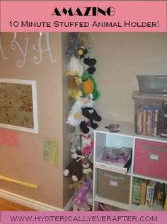 Idea for the millions of stuffies we have.  Found on http://hystericallyeverafter.com/2012/08/03/27/