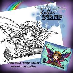 UM Rubber Stamp Bookworm Fairy Hannah Lynn by hannahlynnart, 7.99