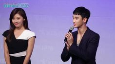 "cool [09/10/2015] Kim Soo-hyun and actress Ha Ji-won at a meeting of ""Hana Bank"""