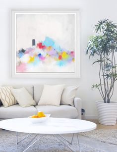 """Large Original Abstract giclée print of Painting, blue pink and yellow painting """"Ice Cream"""" by CorinneMelanieArt on Etsy https://www.etsy.com/uk/listing/400561417/large-original-abstract-giclee-print-of"""