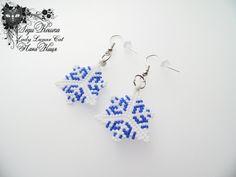 #fashion #art #jewelry Snowflake triangle earrings Beaded Earrings Winter by LadyLunarCat