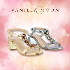 Stand out in a crowd #VanillaMoon #VanillaMoonShoes #Blockheels #Jewels #Sparkle