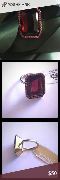 Michael Kors Merlot Ring sz 7 ❤️💋👑 Stunning MK Merlot & gold band ladies size 7 Ring with one tiny diamond embossed in the interior as MK trademark authentic of course 💝 Michael Kors Accessories