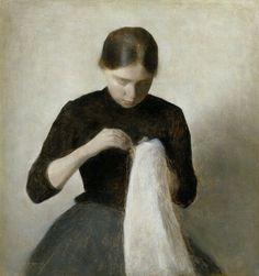Vilhelm Hammershøi 1887 Ung pige der syr 37x35cm Ordrupgaard København
