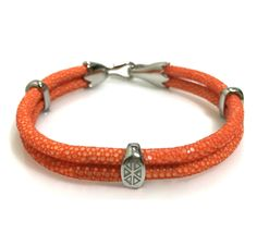 ORANGE STINGRAY BRACELET IN SILVER - S209/B | Dual Cord Hand-wrapped Genuine Stingray Leather | Three Sterling Silver accents and tail-hook clasp | Rare and Exotic looking | Beautiful high-end bracelet | #caerusgallery  #luxury  #exotic  #leather  #bracelet  #accessories #orange - www.caerusgallery.com