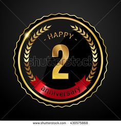 2 golden anniversary logo with red ribbon, low poly design number - stock vector