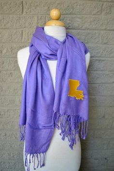 LSU Pride scarf $28 (you might could make one yourself once you figure out the embroidery machine!)