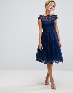 Chi Chi London Navy-blue lacet detailed dress.