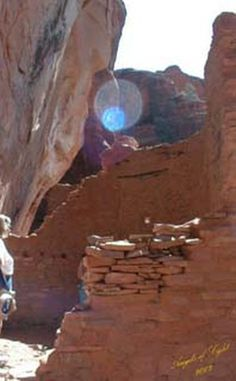 Diana Hecht took this photo during her October 2002 trip to the Palakti Ruins outside of Sedona, Arizona. Says Diana of the Orb, 'I named this one Angel of Light.'