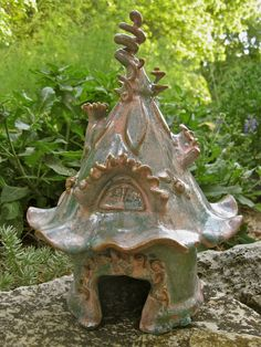 Curling Vine Fairy House toad gnome click now for more. Toad House, Gnome House, Clay Houses, Ceramic Houses, Clay Fairy House, Fairy Houses, Pottery Houses, Pottery Art, Pottery Ideas