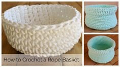 Beginner friendly easy crochet basket and free pattern diy using clothesline or rope with video tutorial and written instructions Crochet Bowl, Crochet Basket Pattern, Knit Basket, Crochet Diy, Rope Basket, Crochet Hooks, Crochet Baskets, Crochet Cats, Crochet Fruit