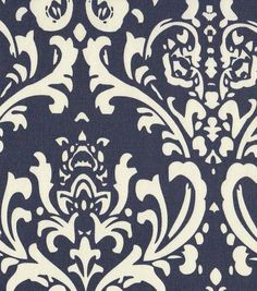 Home Decor Print Fabric- Navy Damask