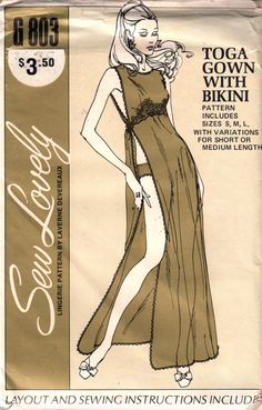 Sew Lovely G803 1970s Misses TOGA Gown with Bikini  Panties womens vintage lingerie negligee nightgown sewing pattern by mbchills