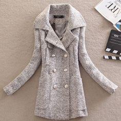 Price:$47.99 Color: Dark Gray/Light Gray Material: Tweed Retro Lapel Double Breast Solid Color Tweed Coat
