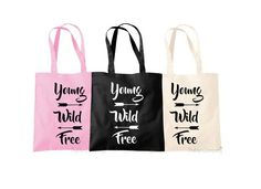 1154d7667 Items similar to Quote Shopping Bag Young Wild Free Shopping Tote Wild  Quote Arrow Shopping Bag Pink Bag Black Shopping Bag Christmas Gift on Etsy