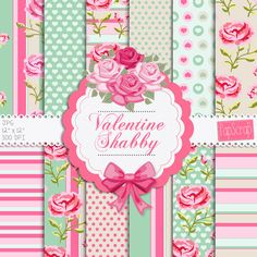 """Shabby chic digital paper : """" Valentine Shabby """" rose digital paper with pink roses on green, pink, cream, green background, decoupage paper"""