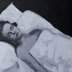 Black and White Painting of a Woman Sleeping  by strangepainting, $75.00