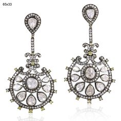Victorian Estate Style 6.90ct Rose Cut Antique UnCut / Polki Diamond .925 Silver Long Earring by TraditionalJewels on Etsy