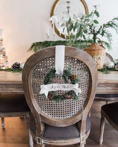 Little wreaths on the backs of chairs are my favourite! I made these little wreaths from grapevine wreaths and made the little banners from fabric, wire and iron-on transfer paper. The tutorial is on my blog, click the link for recent posts!