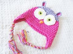 Pink Owl Crocheted Baby Girl Beanie Hat Cotton Hot Pink Purple Green with Tassels Photo Prop By Distinctly Daisy