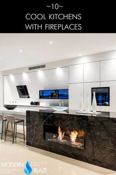 10 Cool Kitchens With Fireplaces Ideas Pantry Interior, Interior Styling, Interior Decorating, Home Fireplace, Fireplaces, Kitchen On A Budget, Kitchen Ideas, Boho Lighting, Fireplace Inserts