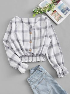 Shop Single Breasted V Neck Plaid Blouse online. ROMWE offers Single Breasted V Neck Plaid Blouse & more to fit your fashionable needs. Teen Fashion Outfits, Fashion Pants, Look Fashion, Outfits For Teens, Korean Fashion, Girl Outfits, Summer Outfits, Fashion Styles, Womens Fashion