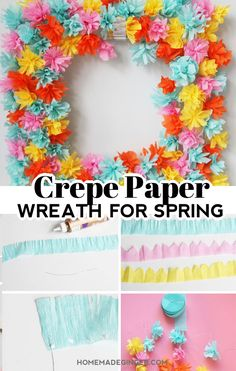 Make a beautiful paper flower wreath out of crepe paper. This is the perfect DIY spring wreath!  #homemadegingerblog #crepepaperwreath #paperwreath #springwreath