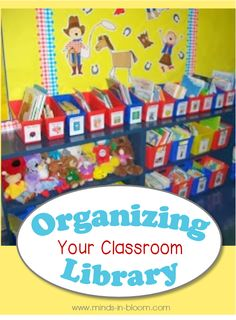 Organizing Your Classroom Library - This looks wonderful. My classroom library is a -- well, let's call it a work in progress. Classroom Setting, Classroom Setup, Kindergarten Classroom, Future Classroom, Classroom Libraries, Classroom Labels, Classroom Activities, Library Organization, Classroom Organisation