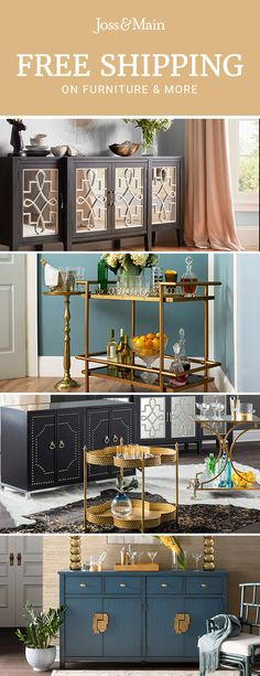 Bar carts at jossandmain.com! Sign up to find out more about FREE SHIPPING on all orders over $49!