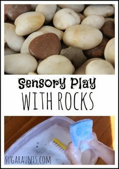 Sensory and fine motor play with ROCKS! By Sugar Aunts. Sensory and fine motor play with ROCKS! By Sugar Aunts. Sensory Tubs, Sensory Boxes, Sensory Diet, Therapy Activities, Preschool Activities, Play Therapy, Art Therapy, Speech Therapy, Toddler Preschool