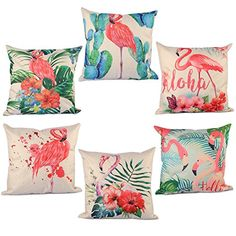 Throw Pillow Covers, YIFAN 6 Pieces Pillowcase Set Pillow Cover Flamingo Pattern Cushion Cover for Valentine's Day Birthday Christmas Gift Sofa Throw Pillows, Throw Pillow Cases, Cushions, Flamingo Decor, Valentines Day Birthday, Flamingo Pattern, Decorative Pillow Covers, Gift, Amazon