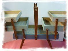 Style Vintage en bois de pin Couture BOîte Shabby Chic Design Rangement Cantilever Case